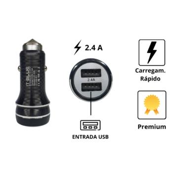 CARREGADOR CELULAR VEICULAR CARRO FONTE 2 USB TURBO