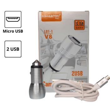 CARREGADOR VEICULAR 3.1A – 2 USB – CABO MICRO USB (V8)