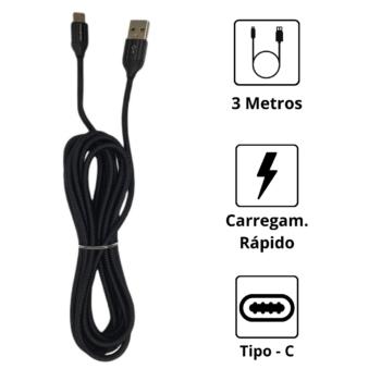 CABO DE DADOS USB H'MASTON – TIPO-C – 3 METROS
