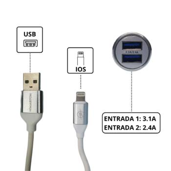 CARREGADOR VEICULAR 3.1A – 2 USB – CABO IPHONE LIGHTNING IOS